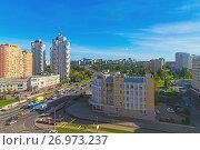 Купить «Moscow, Russia - September 20. 2017. view street Panfilov Avenue in Zelenograd», фото № 26973237, снято 20 сентября 2017 г. (c) Володина Ольга / Фотобанк Лори