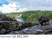 Купить «On an ancient volcano Girvas, Karelia», фото № 26983309, снято 6 августа 2017 г. (c) Валерий Смирнов / Фотобанк Лори