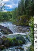 Купить «At the waterfall Kivach, Karelia», фото № 26983329, снято 7 августа 2017 г. (c) Валерий Смирнов / Фотобанк Лори