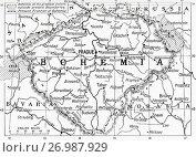 Map of Bohemia at the outbreak of WWI. The lined areas show its extent in the 14th century, the dotted line shows its frontier in 1914. From Hutchinson's History of the Nations, published 1915. Редакционное фото, фотограф Classic Vision / age Fotostock / Фотобанк Лори