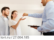 Купить «realtor giving keys from new home to happy couple», фото № 27004185, снято 4 июня 2017 г. (c) Syda Productions / Фотобанк Лори