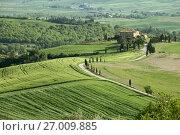 Купить «Tuscany farmland hill fields in Italy», фото № 27009885, снято 4 мая 2017 г. (c) Михаил Коханчиков / Фотобанк Лори