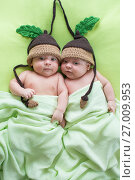 Купить «Newborn beautiful baby twins weared in funny knitted hats. Closeup portrait, caucasian child», фото № 27009953, снято 26 сентября 2012 г. (c) Оксана Кузьмина / Фотобанк Лори
