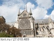 Фрагмент здания собора Парижской Богоматери (Нотр-Дам-де-Пари; Notre Dame de Paris). Париж. Франция (2017 год). Редакционное фото, фотограф E. O. / Фотобанк Лори