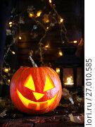 Pumpkin lamp for Halloween. Стоковое фото, фотограф Оксана Голева / Фотобанк Лори