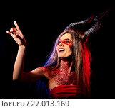 Купить «Mad satan woman aggressive cry in hell . Witch reincarnation creature.», фото № 27013169, снято 23 марта 2017 г. (c) Gennadiy Poznyakov / Фотобанк Лори