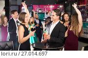 Купить «Females and males celebrating corporate», фото № 27014697, снято 20 апреля 2017 г. (c) Яков Филимонов / Фотобанк Лори