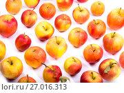 Купить «Много спелых красных яблок на белом фоне», фото № 27016313, снято 16 сентября 2017 г. (c) V.Ivantsov / Фотобанк Лори