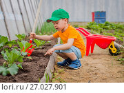 Купить «Child in the garden», фото № 27027901, снято 10 июня 2017 г. (c) Юлия Шангареева / Фотобанк Лори