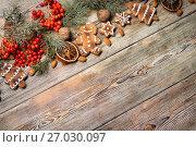 Christmas background on wooden. Стоковое фото, фотограф Типляшина Евгения / Фотобанк Лори