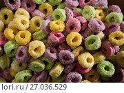 Купить «Close-up of froot loops», фото № 27036529, снято 13 июня 2017 г. (c) Wavebreak Media / Фотобанк Лори