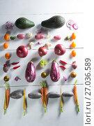 Купить «Overhead view of various vegetables arranged», фото № 27036589, снято 12 июня 2017 г. (c) Wavebreak Media / Фотобанк Лори