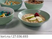 Купить «Various breakfast on white background», фото № 27036693, снято 13 июня 2017 г. (c) Wavebreak Media / Фотобанк Лори