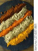 Купить «Various type of spice powder on slate plate», фото № 27037881, снято 5 июня 2017 г. (c) Wavebreak Media / Фотобанк Лори