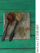 Купить «Crushed red pepper and coriander seeds in spoon», фото № 27038681, снято 5 июня 2017 г. (c) Wavebreak Media / Фотобанк Лори