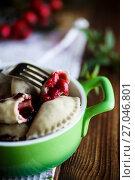 Купить «sweet dumplings with cherries in a bowl», фото № 27046801, снято 3 октября 2017 г. (c) Peredniankina / Фотобанк Лори