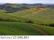 Купить «Tuscany farmland hill fields in Italy», фото № 27046861, снято 6 мая 2017 г. (c) Михаил Коханчиков / Фотобанк Лори