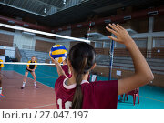 Купить «Female players playing volleyball in the court», фото № 27047197, снято 17 мая 2017 г. (c) Wavebreak Media / Фотобанк Лори