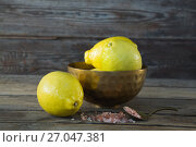 Купить «Lemon and himalayan salt on wooden table», фото № 27047381, снято 5 июня 2017 г. (c) Wavebreak Media / Фотобанк Лори