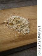 Купить «Close up of flour on cutting board», фото № 27048981, снято 5 мая 2017 г. (c) Wavebreak Media / Фотобанк Лори