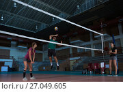 Купить «Male volleyball player with teammate jumping», фото № 27049605, снято 17 мая 2017 г. (c) Wavebreak Media / Фотобанк Лори