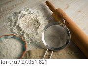 Купить «Close up of flour with rolling pin and strainer», фото № 27051821, снято 5 мая 2017 г. (c) Wavebreak Media / Фотобанк Лори