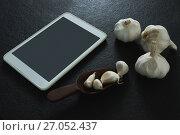 Купить «Garlic with digital tablet on black background», фото № 27052437, снято 5 июня 2017 г. (c) Wavebreak Media / Фотобанк Лори