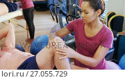 Купить «Physiotherapist giving knee massage to senior patient 4k», видеоролик № 27055729, снято 24 января 2020 г. (c) Wavebreak Media / Фотобанк Лори