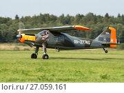Купить «Самолет Dornier Do-27 A-3 (бортовой RA-2774G) на взлете, аэродром Орловка», эксклюзивное фото № 27059161, снято 19 августа 2017 г. (c) Alexei Tavix / Фотобанк Лори