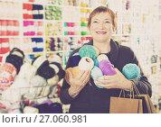 Купить «Woman with accessories for needlework», фото № 27060981, снято 10 мая 2017 г. (c) Яков Филимонов / Фотобанк Лори