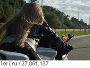 Купить «Sexy biker girl in a leather jacket», фото № 27061137, снято 5 августа 2017 г. (c) Дмитрий Черевко / Фотобанк Лори