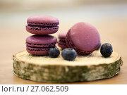 Купить «blueberry macarons on wooden stand», фото № 27062509, снято 8 мая 2017 г. (c) Syda Productions / Фотобанк Лори