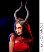 Купить «Mad satan woman aggressive cry in hell . Witch reincarnation creature.», фото № 27066653, снято 23 марта 2017 г. (c) Gennadiy Poznyakov / Фотобанк Лори