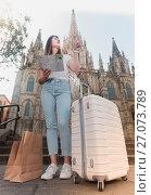 Купить «Blond girl traveler holding map in hands», фото № 27073789, снято 17 мая 2017 г. (c) Яков Филимонов / Фотобанк Лори