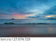 ebb in the Andaman Sea during sunset, on the horizon beautiful mountains. Стоковое фото, фотограф Константин Лабунский / Фотобанк Лори