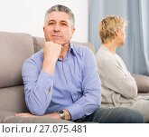 Купить «sad mature couple quarreling at home with each other», фото № 27075481, снято 24 февраля 2020 г. (c) Яков Филимонов / Фотобанк Лори