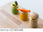 Купить «vegetable puree or baby food in glass jars», фото № 27083645, снято 21 февраля 2017 г. (c) Syda Productions / Фотобанк Лори