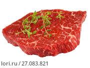 Купить «marbled beef Steak with thyme isolated», фото № 27083821, снято 17 июля 2019 г. (c) Oksana Zh / Фотобанк Лори