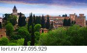 view to Alhambra in day time. Granada (2016 год). Стоковое фото, фотограф Яков Филимонов / Фотобанк Лори