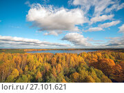 Купить «Autumn landscape . Clouds over the lake with yellow trees.», фото № 27101621, снято 12 октября 2017 г. (c) Алексей Маринченко / Фотобанк Лори