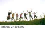 Купить «Happy Friend Jumping», видеоролик № 27101897, снято 12 октября 2017 г. (c) Илья Шаматура / Фотобанк Лори