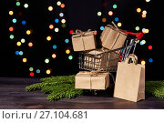 Купить «Christmas and New Year shopping.», фото № 27104681, снято 19 июля 2016 г. (c) Мельников Дмитрий / Фотобанк Лори