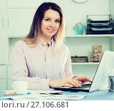 Купить «Female having productive day at work», фото № 27106681, снято 13 марта 2017 г. (c) Яков Филимонов / Фотобанк Лори