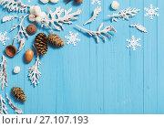Купить «beautiful blue Christmas background», фото № 27107193, снято 6 октября 2017 г. (c) Майя Крученкова / Фотобанк Лори