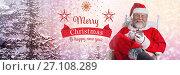 Купить «Merry Christmas Happy New year text and Santa Claus in Winter with phone», фото № 27108289, снято 20 февраля 2018 г. (c) Wavebreak Media / Фотобанк Лори