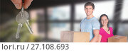 Купить «people moving boxes into new home with key», фото № 27108693, снято 18 января 2020 г. (c) Wavebreak Media / Фотобанк Лори