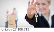 Купить «people moving boxes into new home with key», фото № 27108713, снято 23 февраля 2020 г. (c) Wavebreak Media / Фотобанк Лори