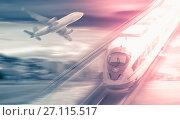 Купить «Speed of train and plane traveling», фото № 27115517, снято 20 августа 2018 г. (c) Яков Филимонов / Фотобанк Лори