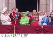 Купить «The Royal family attends the 'Trooping of the Colour' which forms part of the Queen's 90th birthday celebrations at Buckingham Palace in London. Featuring...», фото № 27118101, снято 11 июня 2016 г. (c) age Fotostock / Фотобанк Лори