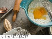 Купить «Gingerbread cookies ingredients with various utensils on table», фото № 27123797, снято 5 мая 2017 г. (c) Wavebreak Media / Фотобанк Лори